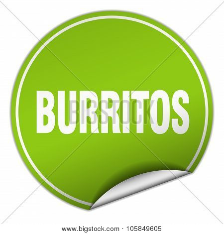 Burritos Round Green Sticker Isolated On White