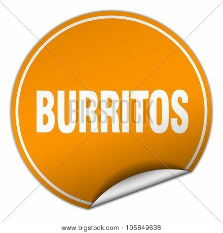 Burritos Round Orange Sticker Isolated On White