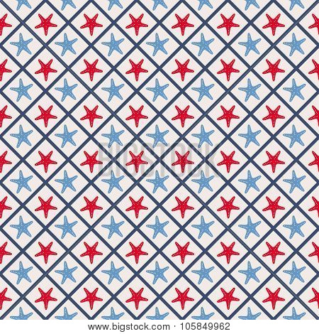 Seamless pattern with cross lines and starfish.