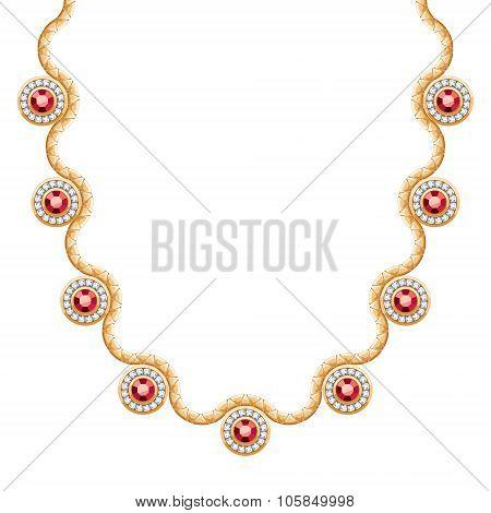 Wave chain golden metallic necklace or bracelet.
