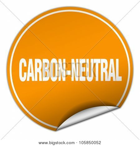 Carbon-neutral Round Orange Sticker Isolated On White