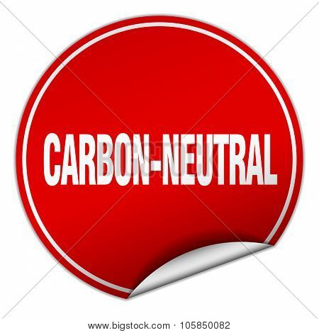 Carbon-neutral Round Red Sticker Isolated On White