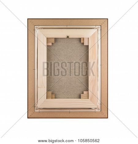 Gallery Wrapped Blank Canvas In Wooden Frame Construction - Stretcher Bar Frames Back Side Isolated