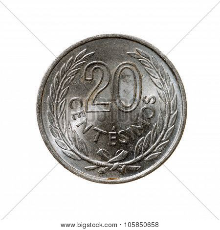 Uruguay Coin Twenty Cents Isolated On White Background. Top View.