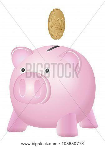 Piggy Bank Twenty Euro Cent