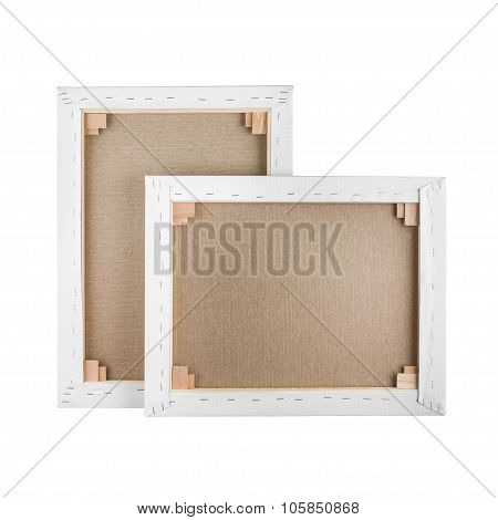 Gallery Wrapped Blank Canvas On Wooden Frame - Stretcher Bar Frames Back Side Isolated On White