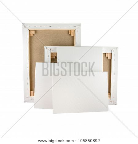 Gallery Wrapped Blank Canvas On Wooden Frame - Stretcher Bar Frames Back And Front Side Isolated On