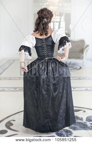 Beautiful Medieval Woman In Long Dress, Back
