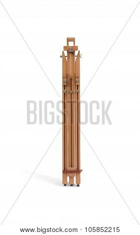 Assembled Wooden Tripod Easel Isolated On White
