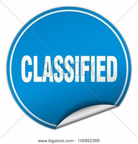 Classified Round Blue Sticker Isolated On White