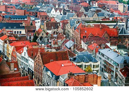 Aerial View Of Bruges From Belfry, Belgium