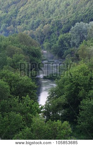 Small River With Dense Trees On The Banks