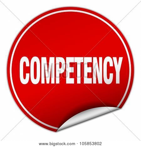 Competency Round Red Sticker Isolated On White