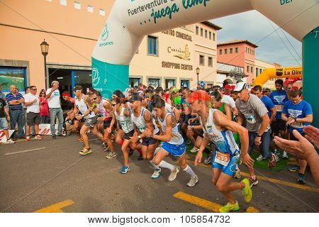 Corralejo - November 03: Runners Start The Race At Forth International Fuerteventura Half-marathon 0