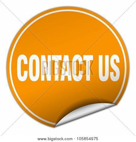 Contact Us Round Orange Sticker Isolated On White