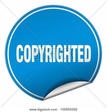 Copyrighted Round Blue Sticker Isolated On White