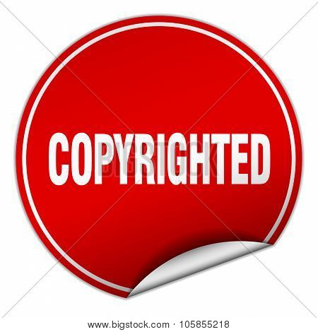 Copyrighted Round Red Sticker Isolated On White