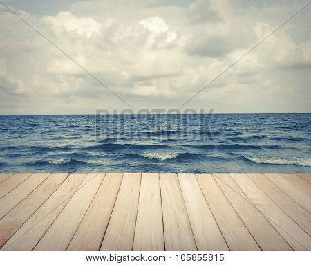Wood platform and the sea.