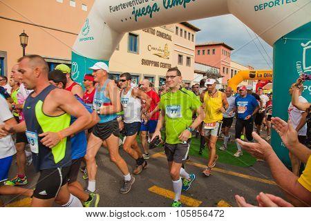 Corralejo - November 03: Runners Start The Race At Fourth International Fuerteventura Half-marathon