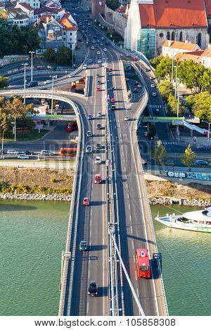 Car Traffic On Snp Bridge In Bratislava City