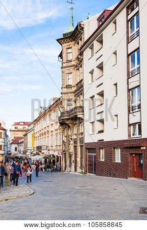 Tourists On Panska Street In Old Town Bratislava