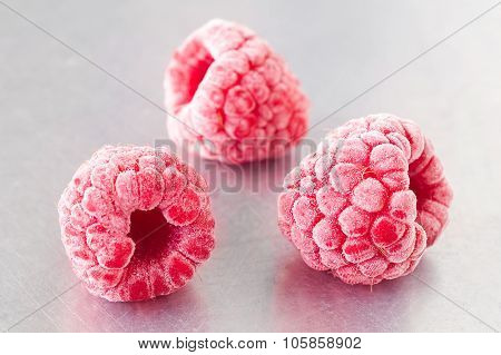Delicious Frozen Raspberries On Steel
