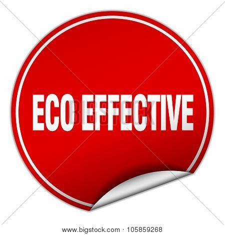 Eco Effective Round Red Sticker Isolated On White