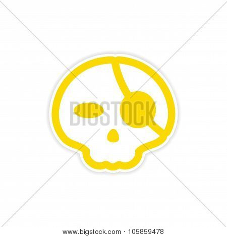 sticker stylish skull with eye patch on white background