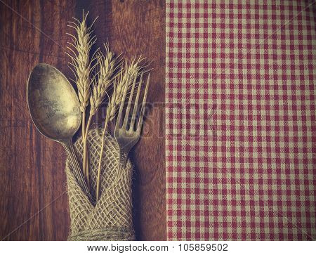 Fork And Spoon With The Ears Of Wheat