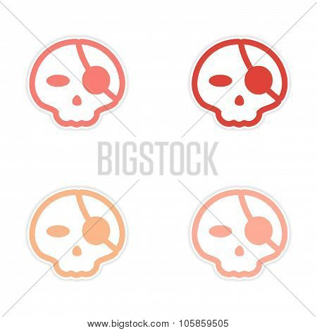 assembly sticker stylish skull with eye patch on white background