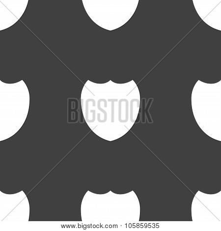 Shield Sign Icon. Protection Symbol. Seamless Pattern On A Gray Background.