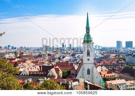 St.martin Cathedral And Bratislava City Skyline