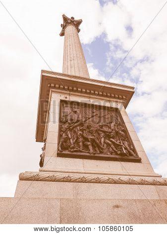 Retro Looking Nelson Column In London