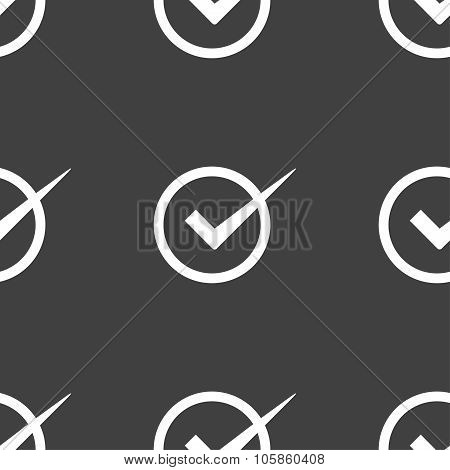 Check Mark Sign Icon. Checkbox Button. Seamless Pattern On A Gray Background.