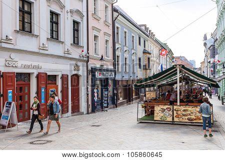People Walk On Michalska Street In Bratislava