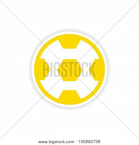 paper sticker Brazilian football on white background
