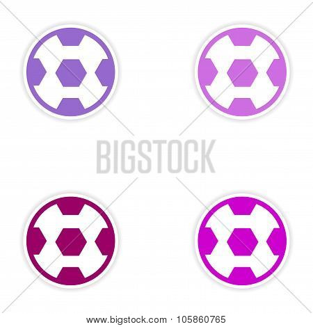 Set of stickers Brazilian football on white background