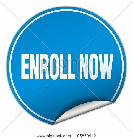 Enroll Now Round Blue Sticker Isolated On White