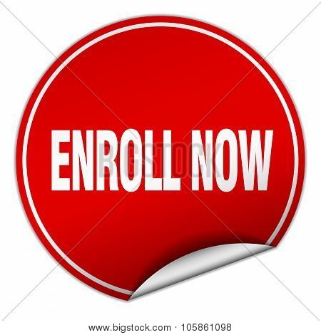 Enroll Now Round Red Sticker Isolated On White