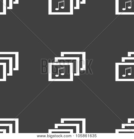 Mp3 Music Format Sign Icon. Musical Symbol. Seamless Pattern On A Gray Background.
