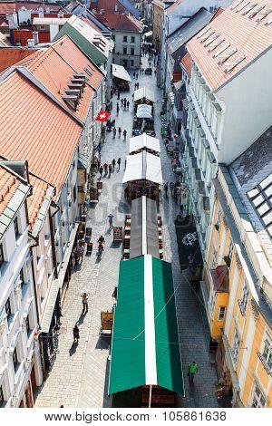 Above View Of Michalska Street In Bratislava