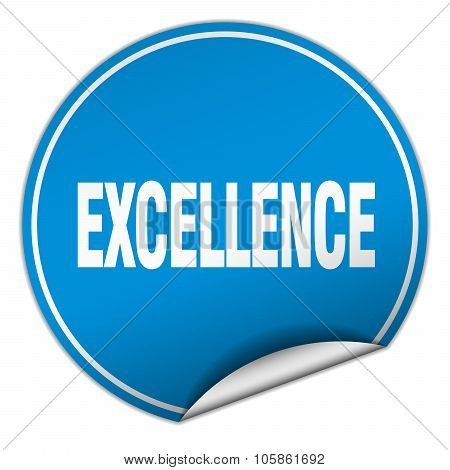Excellence Round Blue Sticker Isolated On White