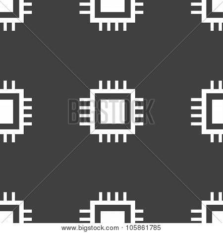 Central Processing Unit Icon. Technology Scheme Circle Symbol. Seamless Pattern On A Gray