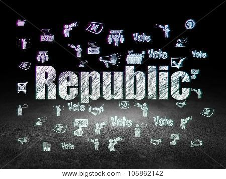 Politics concept: Republic in grunge dark room