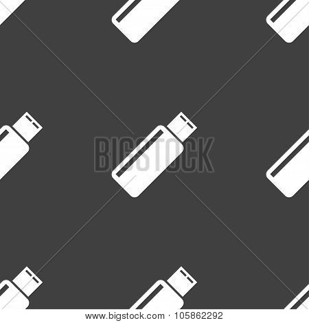 Usb Sign Icon. Flash Drive Stick Symbol. Seamless Pattern On A Gray Background.