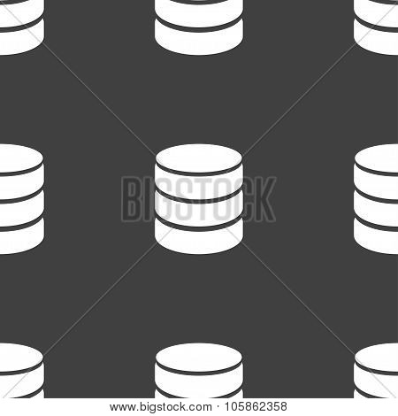 Hard Disk And Database Sign Icon. Flash Drive Stick Symbol. Seamless Pattern On A Gray Background.