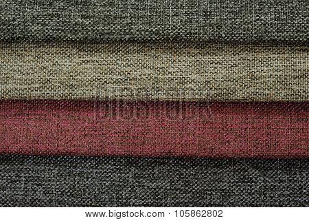 Multi color sackcloth fabrics. Tissue samples