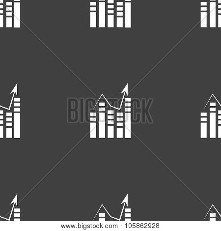 Graph Icon Sign. Seamless Pattern On A Gray Background.