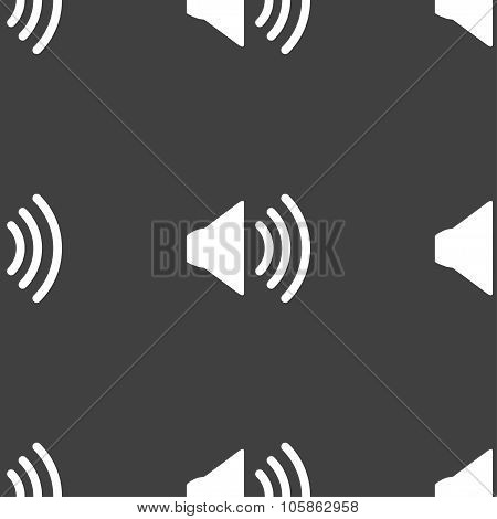Speaker Volume Sign Icon. Sound Symbol. Seamless Pattern On A Gray Background.