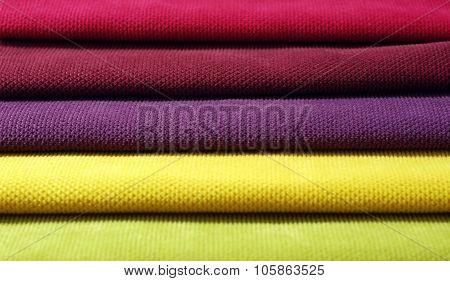 Multi color chenille fabrics. Tissue samples